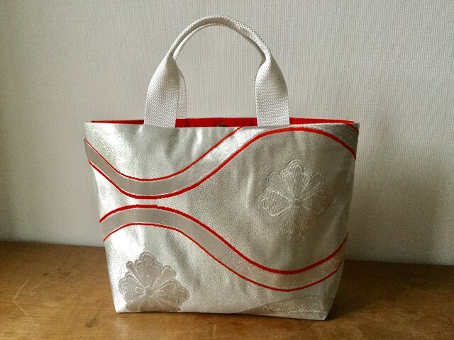 特別価格!帯バッグ 花立涌文様 袋帯リメイクミニトートバッグの画像1枚目