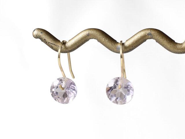 宝石質ローズアメジストのシンプル一粒ピアス☆14KGFの画像1枚目