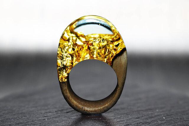 【送料無料】Modern Foil ~Resin Wood Ring~の画像1枚目