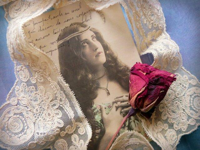 *♥*Antique Calais lace Handmade Lace Tea Cream*♥*の画像1枚目