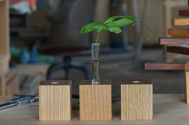 wood vase 45 オーク アルダー タモの画像1枚目