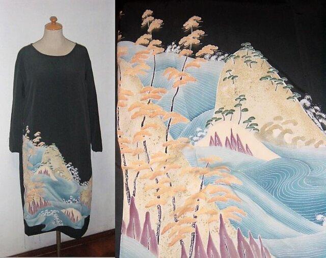 留袖リメイク♪波が素敵な留袖ワンピース♪♪ハンドメイド♪正絹・フォーマル・結婚式・旅行・観劇の画像1枚目