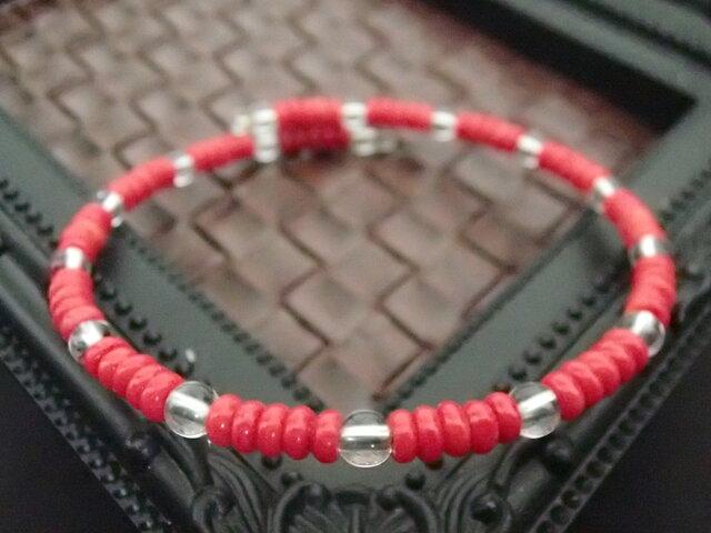 赤サンゴとクリスタルのブレスレットの画像1枚目