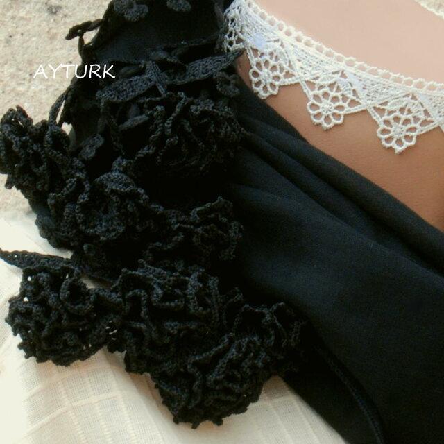 立体レース 花のコットンストール「カーネーション/2辺」ブラックの画像1枚目