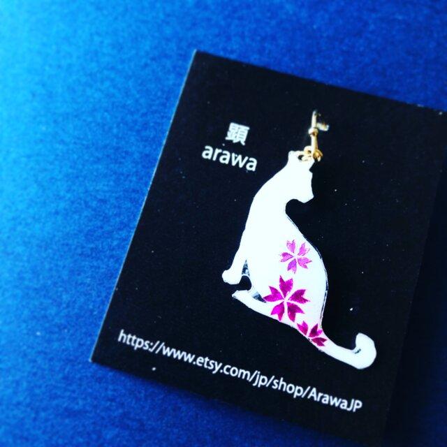 桜白ネコ(横向き)【永遠に咲き誇るSakuraシリーズ】の画像1枚目