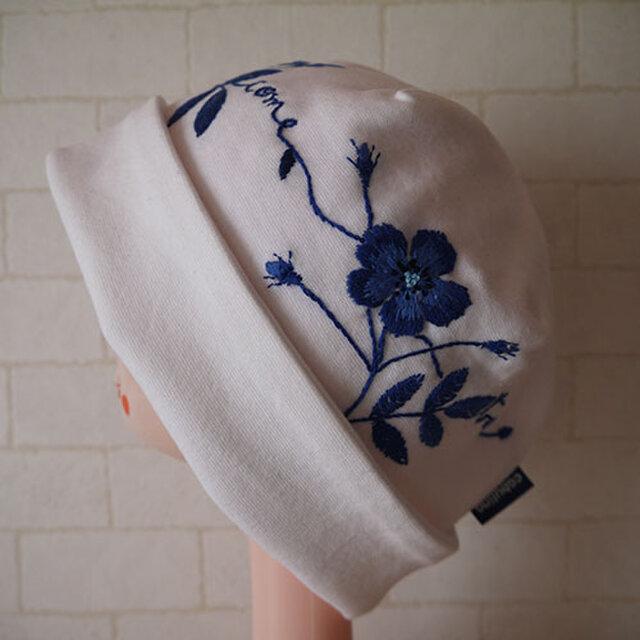 コットン素材スパンフライスニット生地で作ったニット帽(ブルーローズ)の画像1枚目