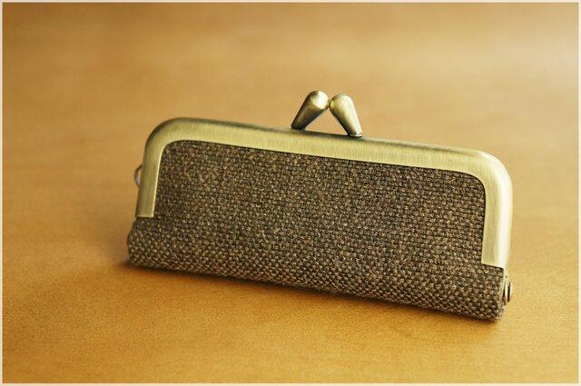 ■手紡ぎ、手織りシルク・リネンのがま口印鑑ケース / n■ hanko case (gmi-n)の画像1枚目