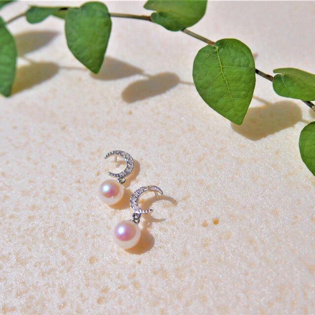 【送料無料】新作 あこや真珠 と ジルコニア の 三日月 ピアス 母の日プレゼント【保証書付】の画像1枚目