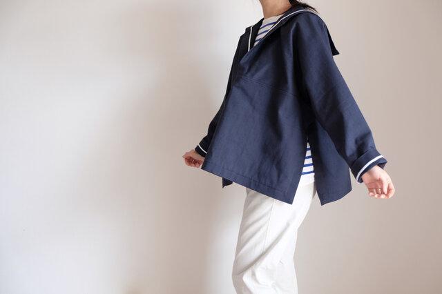 ◆ 限定 sale ◆ セーラー - ヘビーオンス・ドビー織りダブルクロス・コットン・ネイビー -  <受注制作>の画像1枚目