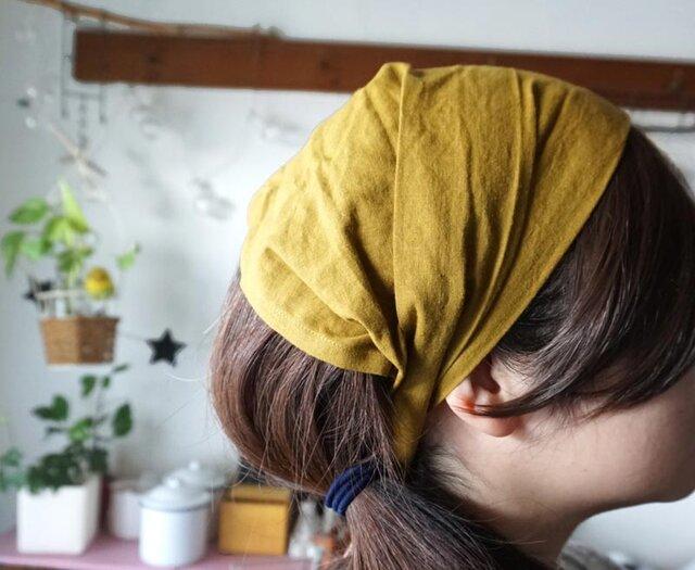 綿麻マスタードカラーのヘアターバンの画像1枚目