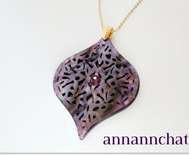 【イタリア製 ライラック しずく型 ネックレス】ラインストーン 紫  バイオレットの画像1枚目