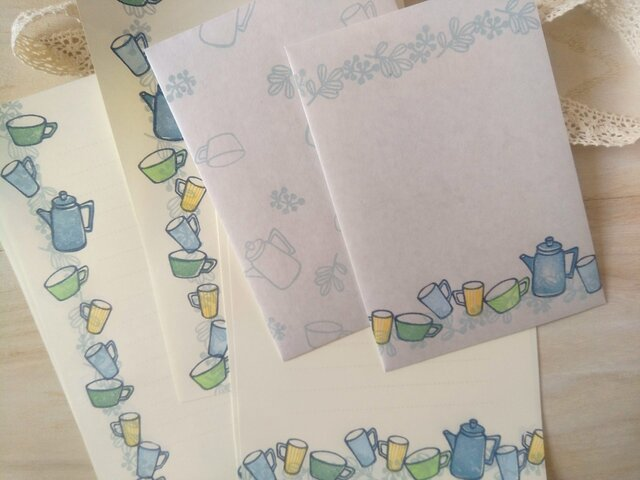 消しゴム版画「縦型封筒のレターセット(ポットとカップ)」の画像1枚目