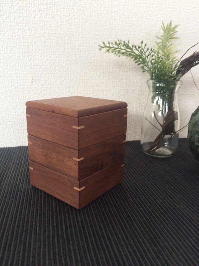 なみ 様専用 三段重小箱(1色/ウォルナットの蓋付)の画像1枚目