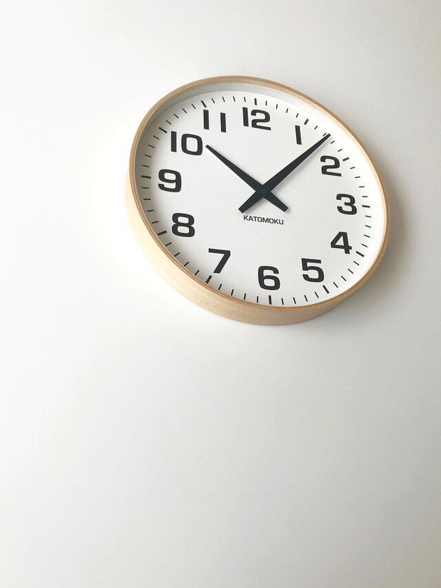 KATOMOKU plywood wall clock 15 km-92NRC ナチュラル 電波時計 連続秒針 大きい時計の画像1枚目