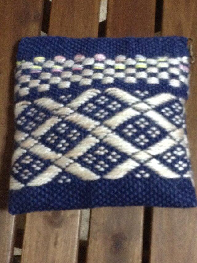 手織りの爽やかミニポーチ 紺&白の画像1枚目