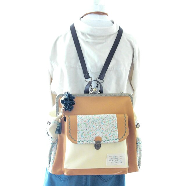 左ファスナー&背中ポケット付き3WAYBIGリュック フルセット 山吹とカスタードの画像1枚目