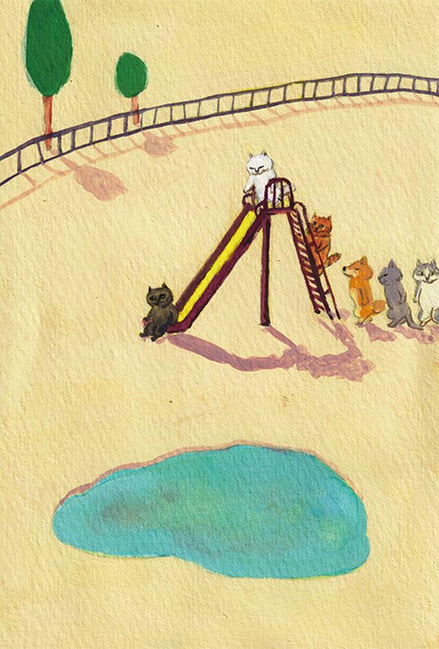 カマノレイコ オリジナル猫ポストカード「すべり台」2枚セットの画像1枚目