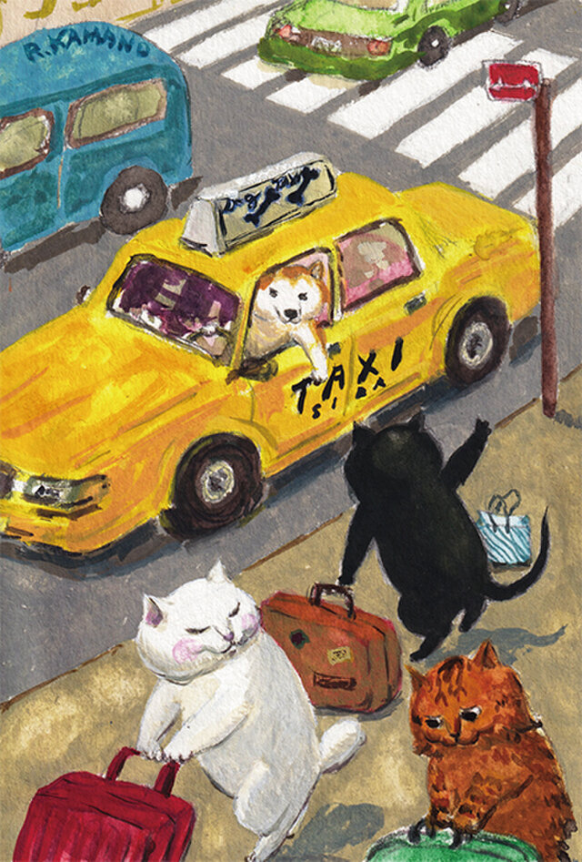 カマノレイコ オリジナル猫ポストカード「タクシー」2枚セットの画像1枚目