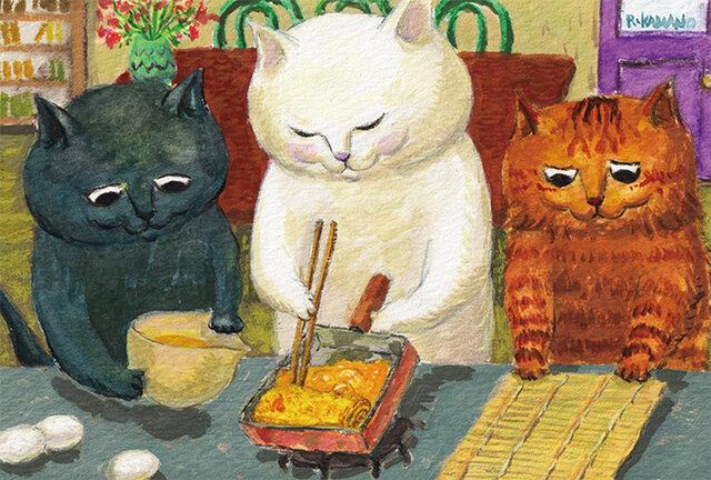 カマノレイコ オリジナル猫ポストカード「たまご焼き」2枚セットの画像1枚目