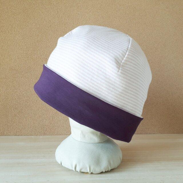 ♪春のSALE♪ニットのリバーシブル帽子(Mサイズ)*2mmボーダー(スモーキーピンク×アイボリー)×グレイッシュパープルの画像1枚目
