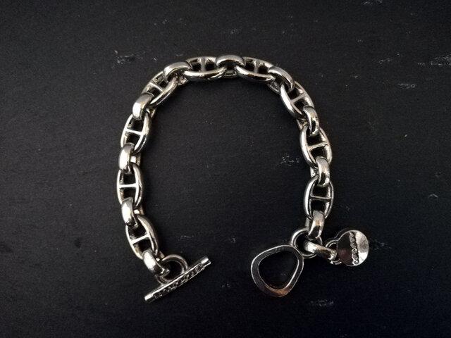 アンカーチェーンブレスレット マリン+ビーンのデザイン シルバー チャーム付ブレスレット オリジナル留め具 Tバータイプの画像1枚目