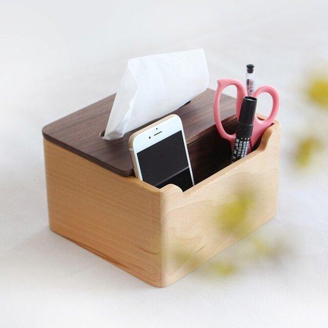 受注生産 職人手作り ティッシュボックス 雑貨 木製雑貨 収納 北欧 木目 ウォールナット 木工 家具 天然木 デスクの画像1枚目