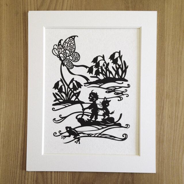 ろくとくろの切り絵「春の小川」の画像1枚目