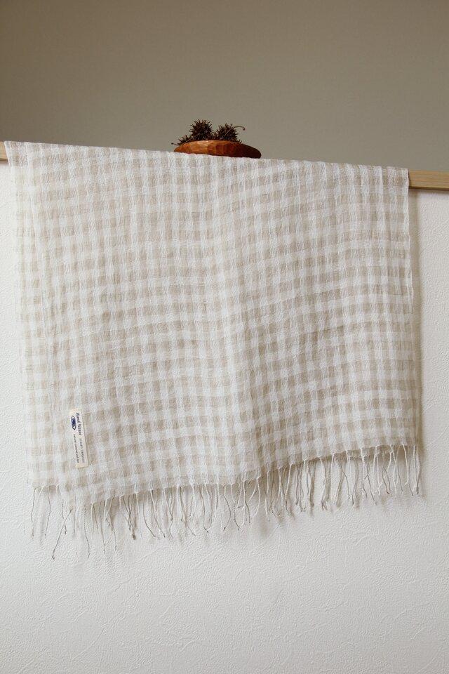 手織りリネン大判ストール グレーチェックの画像1枚目