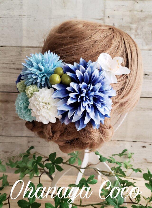 爽花 青と水色の髪飾り9点Set No472の画像1枚目