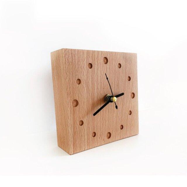 受注生産 職人手作り 置き時計 ブナ材 天然木 時計 ナチュラル シンプル 木工 木製 木目 家具 デスク雑貨 雑貨の画像1枚目
