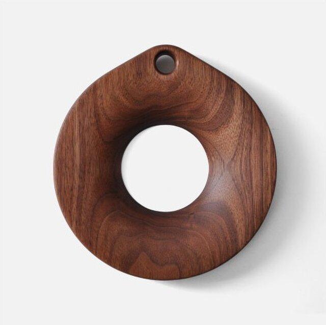 受注生産 職人手作り 鍋敷き 小 ポットマット 木製 ウォールナット デザイン モダン 北欧 Sサイズ 木工 木製雑貨の画像1枚目