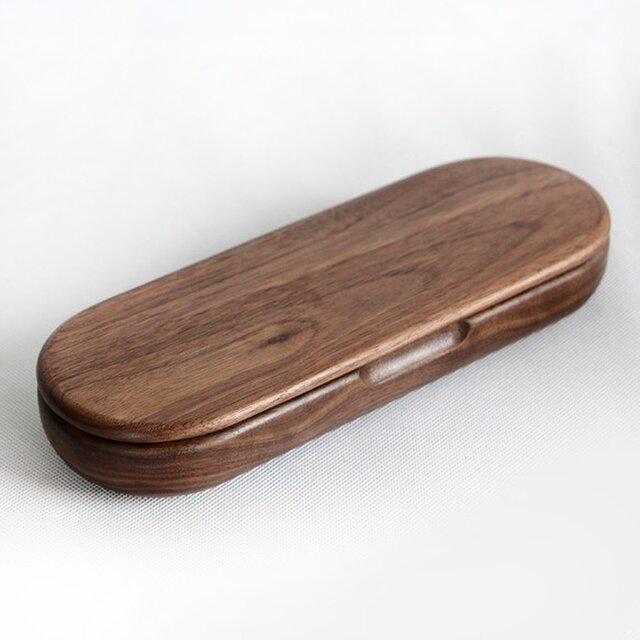 受注生産 職人手作り 木製筆箱 小物入れ おしゃれ モダン ウォールナット デザイン ダークブラウンの画像1枚目