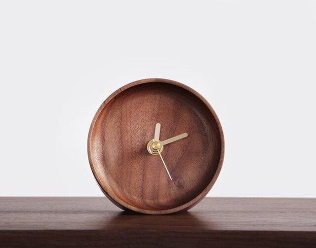 受注生産 職人手作り 置き時計 起き時計 おしゃれ ウォールナット シンプル 木工 木製 木目 家具 デスク雑貨 雑貨の画像1枚目