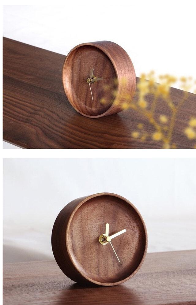 受注生産 職人手作り 置き時計 時計 テレワーク ウォールナット おうち時間 木工 無垢材 木目 木製 雑貨 エコ LR2018の画像1枚目