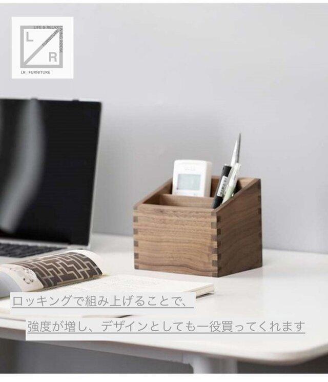 受注生産 職人手作り ペン立て 卓上収納 ペンスタンド 木工 無垢 木製雑貨 ウォールナットの画像1枚目