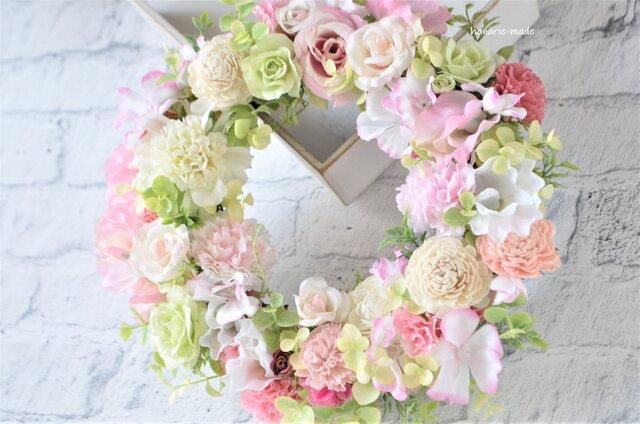 ほほえみにつつまれて 母の日に:ピンク カーネーション バラの画像1枚目