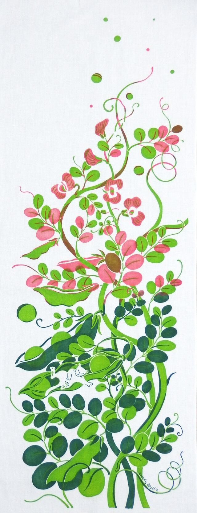 型染めてぬぐい「うきうきまめと浮かぶうたたね」(グリーン/ピンク)(綿100%・手染め捺染)の画像1枚目