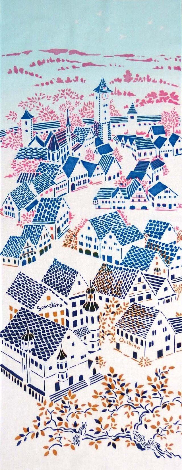 型染めてぬぐい「城塞の街 ‐春の風-」(綿100%・手染め捺染)の画像1枚目