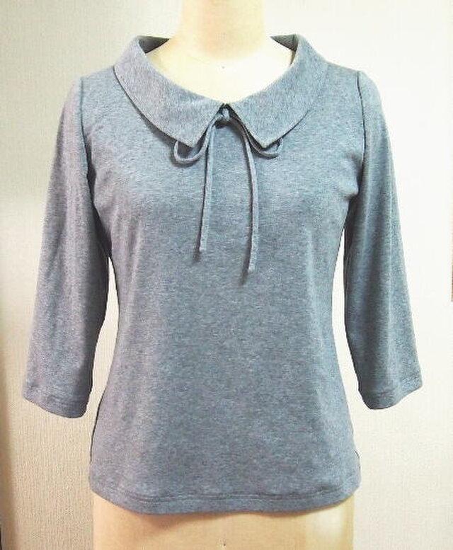 ショールカラーのリボン大好きTシャツB(グレイ色)の画像1枚目