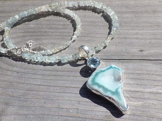 *sv925* 海の女神のドゥルージー Lagoon Druzy with Blue Topaz アクアマリンの画像1枚目
