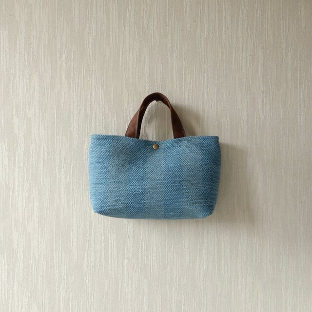 裂き織りのバッグ Mサイズ横長 スレートブルーの画像1枚目