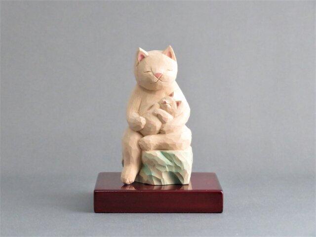 木彫り 猫鬼子母神 猫仏1909の画像1枚目