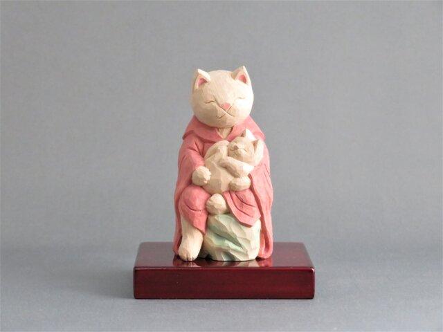 木彫り 猫鬼子母神 猫仏1910の画像1枚目