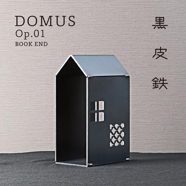 Domus Op.01 BOOK END 本棚 (黒皮鉄) - GRAVIRoNの画像1枚目