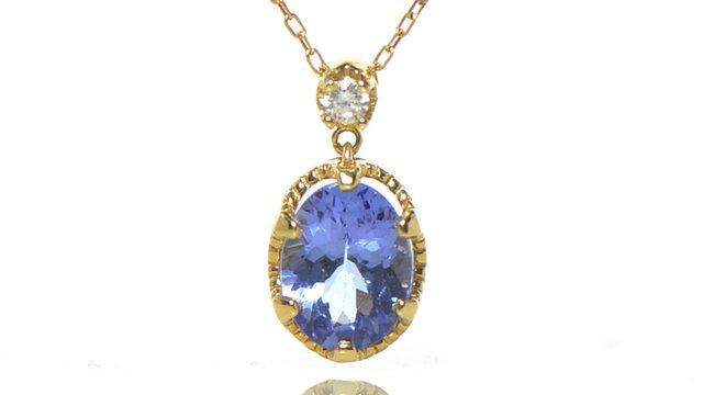 K18 タンザナイト×ダイヤモンド ペンダント K18イエローゴールド クラウディア YK-BC085CIの画像1枚目