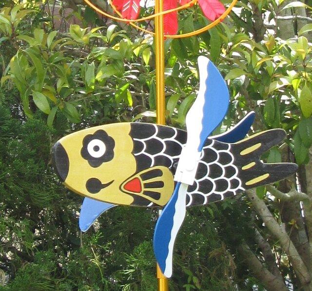 木創り鯉のぼりセット『風見鯉』(ベランダ用・室内用・カープグッズ)の画像1枚目