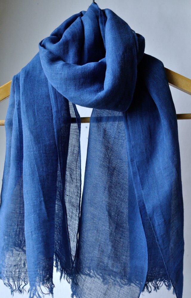 藍染 綿麻ストール(ワイド巾70cm)の画像1枚目