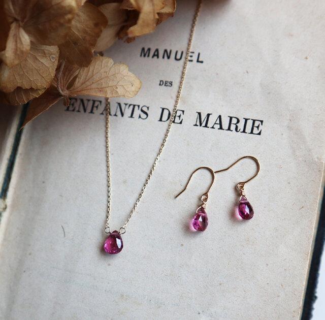 【K18】宝石質ピンクトルマリンの一粒ピアスの画像1枚目
