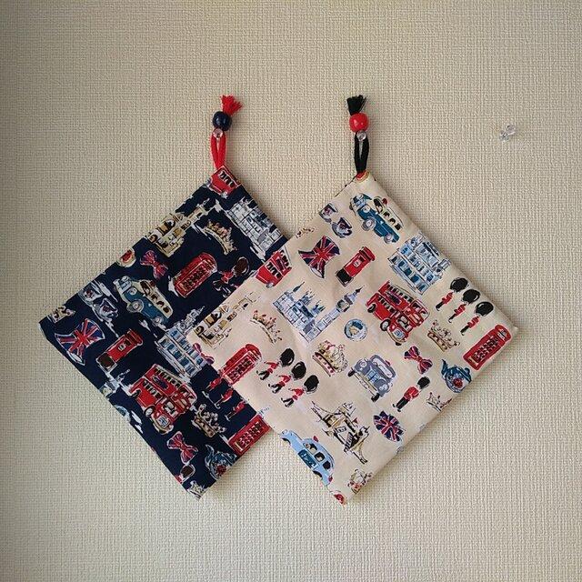 再出品 片紐コップ袋2枚『ロンドン』の画像1枚目