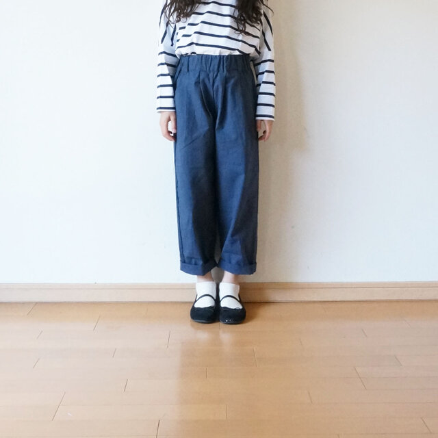 Cotton antique tuck pants NAVY kids 1(80cm~),2(100cm~)sizeの画像1枚目